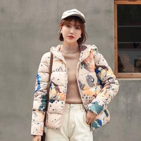 8801短款羽绒棉衣女2019新款面包服韩版学生棉服迷彩外套冬季棉袄