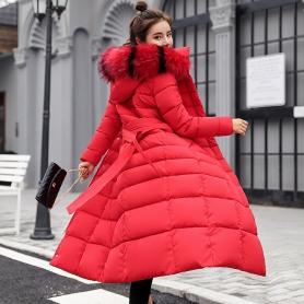 8056长款棉衣女冬新款韩版收腰显瘦系带大码羽绒棉服气质外套潮