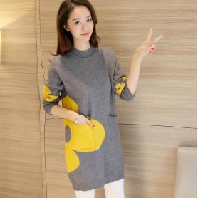 605针织衫时尚套头初秋女装新款韩版宽松中长款半高领毛衣服