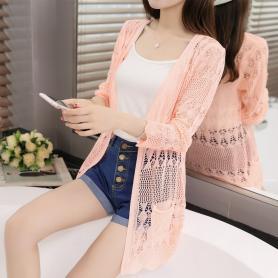 613薄款开衫女新款针织衫镂空空调衫中长款披肩防晒衣外套