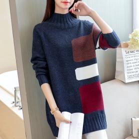 610中长款针织衫女秋冬新款韩版宽松套头打底衫加厚半高领毛衣潮