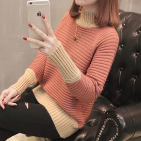 609拼色套头针织衫女秋冬新款韩版时尚拼色宽松高领长袖加厚毛衣