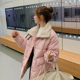 实拍新款羽绒服女装2019冬装羊羔毛韩版学生外套网红风短款棉衣