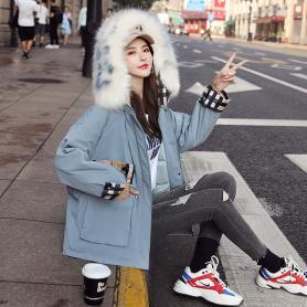 实拍反季韩国东大门短款派克羽绒服女2019新款韩版宽松显瘦大毛领