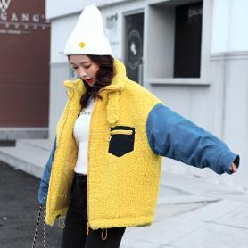 实拍冬装新款女装韩版立领牛仔拼接羊羔毛宽松加厚保暖棉服外套
